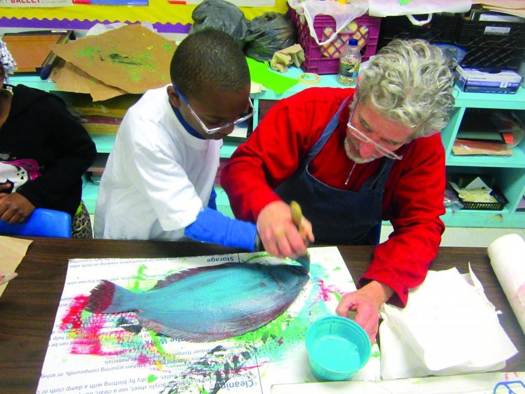 ArtsWestchester Teaching Artist Jo Mullins works on an art project with a student at Longfellow Middle School_photo credit- Felicia Block