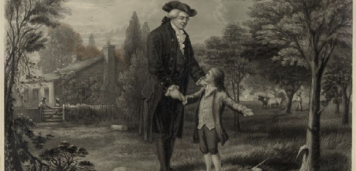 Rendition of a young George Washington and his father after chopping down a cherry tree on the family farm.