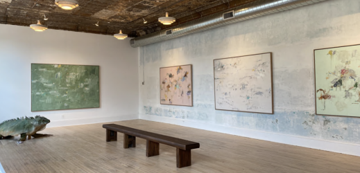 Painting as Performance/Performance as Painting exhibition on view in KinoSaito's gallery (photo credit: Jody Kivort)