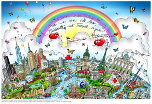 Artwork containing a rainbow and butterfiles that surround different country locations of the world